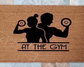 At The Gym Door Mat / Custom Doormat / Welcome Mat / Door mat / Funny Doormat / Gift for Friends / Gift Ideas / Workout / Fitness is Life