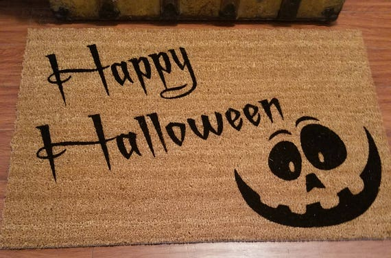 Door Mats / Custom Doormat / Welcome Mat / Personalized Doormat /  Holiday Gift Ideas / Halloween Doormat / Pumpkin Face / Jack O Lantern