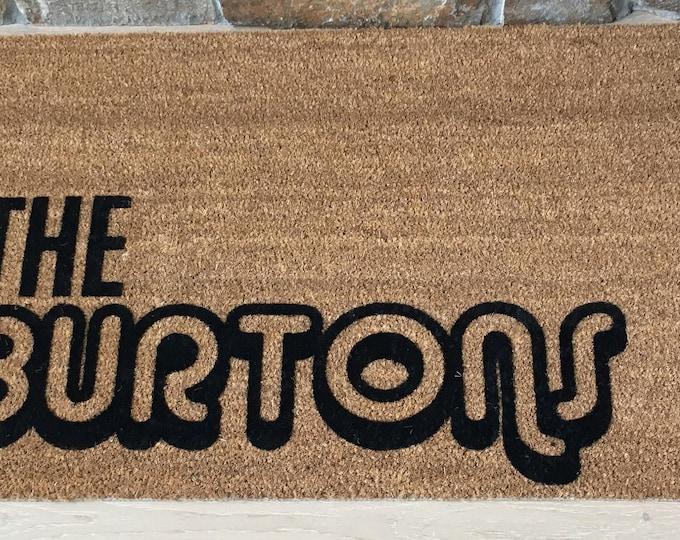 Custom Doormat, Custom Welcome Mat, Personalized Doormat, Retro Door Mat, Unique Gift Idea, Bold Font Design, Retro Designs, Retro Decor