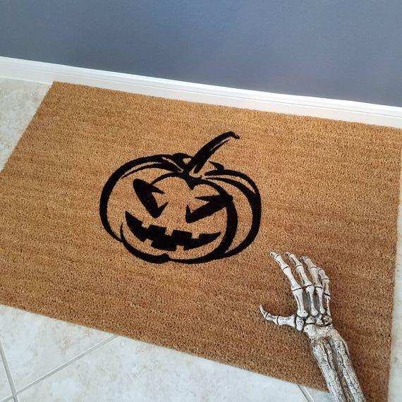 Pumpkin Doormat / Welcome Mat / Door Mats / Custom Doormat / Halloween Doormat / Unique Gift Ideas / Personalized Doormat / Scary Doormat