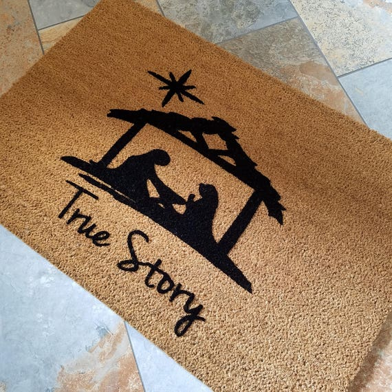 Nativity Doormat / Christmas Doormat / Welcome Mat / Gift Ideas /  Personalized Doormat / Unique Gifts / Religious Doormat / Baby Jesus