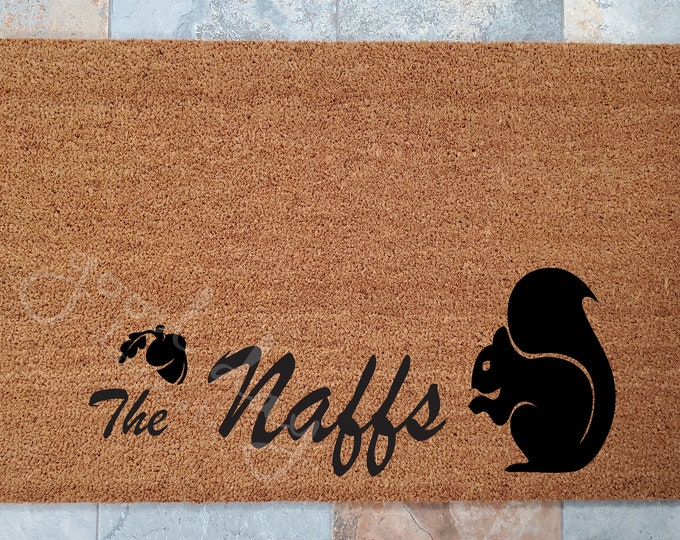Squirrel Family Name Welcome Mat and Many Other Custom Doormats, Custom Welcome Mat, Unique Door Mats, Modern Doormat, Family Gift Ideas
