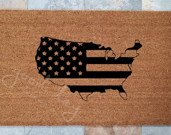 USA Stars and Stripes Welcome Mat / Patriotic Welcome Mat / Custom Doormat / American Flag / Welcome Mat / Personalized / Gift for Friends