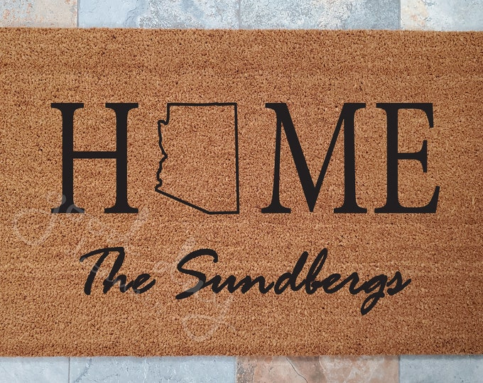 Home State Welcome Mat / Custom Doormat / Welcome Mat / Doormat / Family Name Gift / Gift Ideas / Housewarming Gifts / Doormats