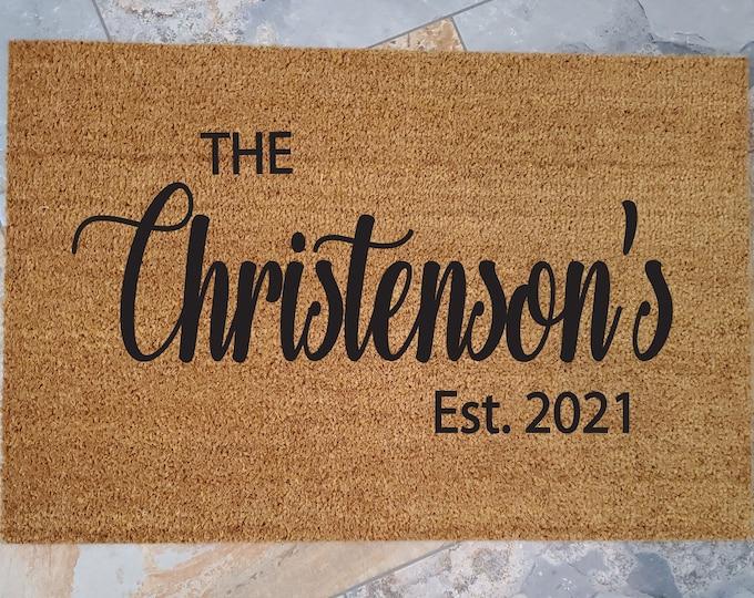 Family Name Welcome Mat / Doormats / Welcome Mat / Gift Ideas / Custom Doormat / Last Name Gift / Custom Door Mat / Gift Ideas / Doormat