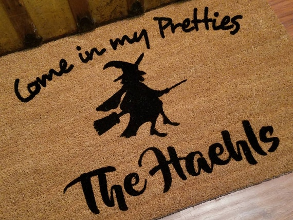 Welcome Mat / Door Mats / Personalized Doormat / Custom Doormat / Halloween Doormat / Unique Gift Ideas / Witch Doormat / Witches on Brooms