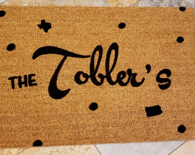 Custom Family Doormat with Tiny States on the Mat and many other Custom Welcome Mats, Add Your Tiny Home State, Family Gift, Doormat