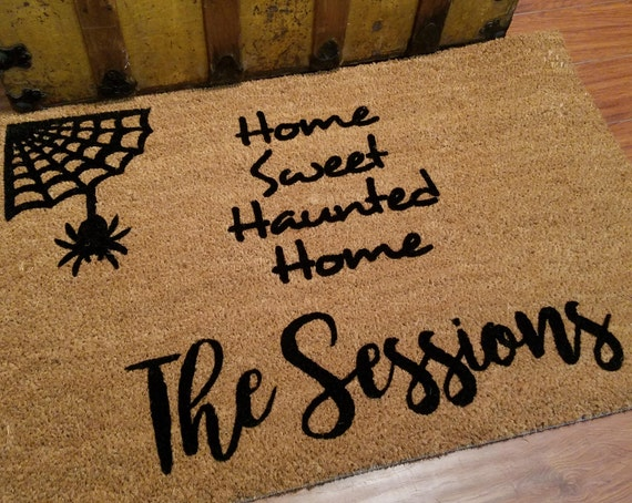 Personalized Doormat / Welcome Mat / Door Mats / Custom Doormat / Halloween Doormat / Unique Gift Ideas / Spiderweb Doormat / Cute Doormat