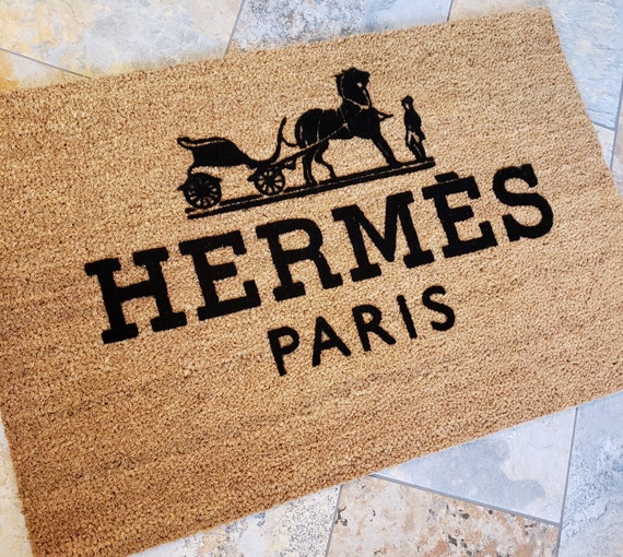 Hermes Paris Doormat / Fashion Doormat / Welcome Mat / Family Gift Ideas / Custom Door Mat / Gift Ideas / Stylish Doormat / Gifts for Him /