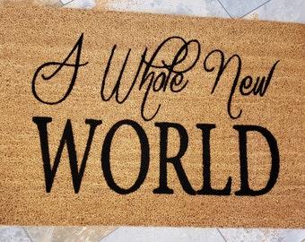A Whole New World Door Mat / Disney Mat / Welcome Mat / Custom Door Mat / Classic Doormat / Door Mat / Unique Gift Ideas / Family Gifts