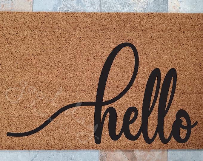 Hello Doormat, Hello Welcome Mat, Custom Doormat, Welcome Mat, Doormat, Doormats, Unique Door Mats, Large or Small Hello, Stylish Doormat