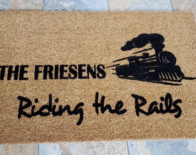Train Lovers Doormat / Personalized Doormat / Travelers Doormat / Custom Doormat / Riding the Rails / Welcome Mat / Family Gift / Trains