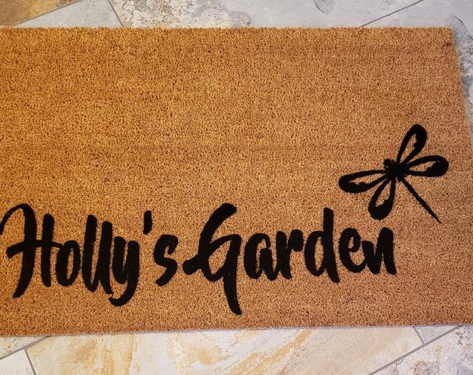 Dragonfly Door Mat, Spring Decorations, Custom Door mat, Spring Door Mat, Cute Home Decor, Garden Lover Gifts, Welcome Mat, Garden Decor,