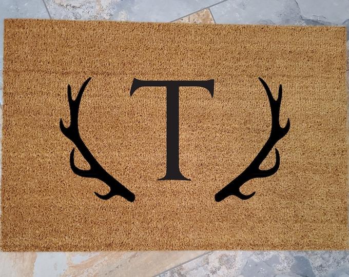 Antlers Doormat / Welcome Mat / Outdoors Doormat /Custom Doormat / Personalized Doormat / Funny Doormat / Housewarming Gifts / Outdoors