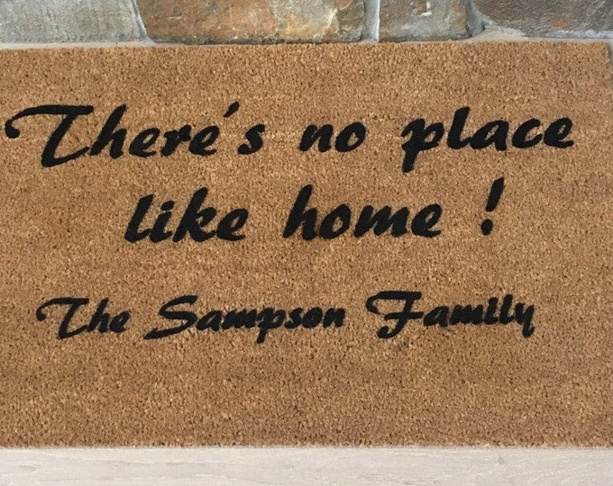 No Place Like Home, Personalized Doormat, Custom Welcome Mat, Custom Doormat,  Wizard of Oz, Unique Gifts, Gifts for Her, Dorothy and Toto