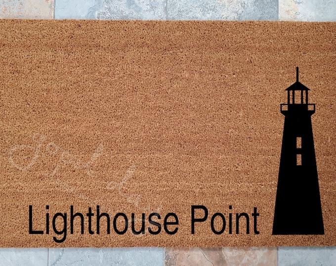 Lighthouse Doormat /  Custom Doormat / Welcome Mat / Lighthouse / Ocean Decor / Doormats / Beach Welcome Mat / Doormat