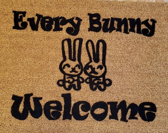 SUPER SALE - One Only / Every Bunny Welcome is a fun doormat for Easter or if you're a bunny lover.  Great gift Idea. Cottontails come on in