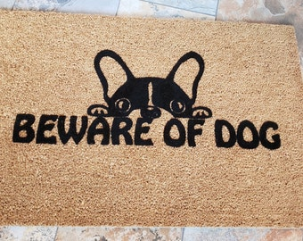 SUPER SALE - Only One Doormat in Stock - Beware of Dog / Dog Doormat / Welcome Mat / Dog Lovers / Custom / Handmade / Dog Gift Ideas /My Pet
