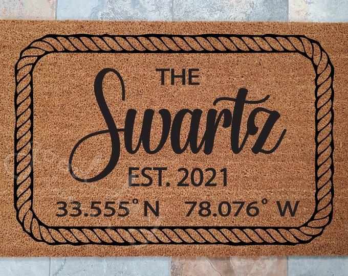 Nautical Doormat  with your Home Coordinates/ Lat and Long Doormat /Personalized Doormat / Custom Doormat / Gift for Couple's / Family Gift