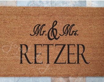 Mr and Mrs Welcome Mat and other Mr and Mrs Unique Gifts, Door Mats, Wedding Gifts, Mr and Mrs Your Name Here, Custom Doormat, Doormats