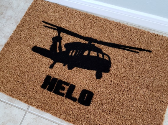 HELO Doormat / Custom Door mat / Welcome Mat / Helicopter Enthusiast / Pilot Gifts / Gift Ideas / Pilot Decor / Personalized Doormat