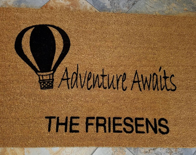 Hot Air Balloon Doormat / Personalized Doormat / Outdoors Doormat / Custom Doormat / Housewarming Gifts / Family Gift / Welcome Mat