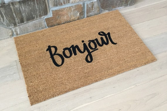 Doormats / Custom Doormats / Welcome Mat / Home Decor / Unique Gift / Gifts for Mom / French Decor / Gifts for Girlfriend /  Bonjour Doormat