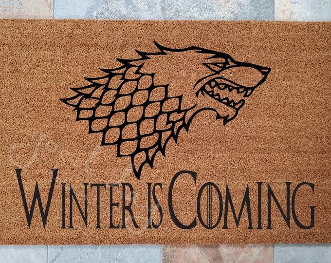 Game of Thrones Doormat / Welcome Mat / Doormat / Custom Doormat / Doormats / Family Gifts / Medieval Door Mat / Winter Is Coming