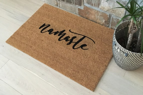 Door Mats / Custom Doormat / Welcome Mat / Namaste Doormat / Yoga Lover Gifts / Yoga Gifts for Sister / Gifts for Mom / Gifts for Girlfriend