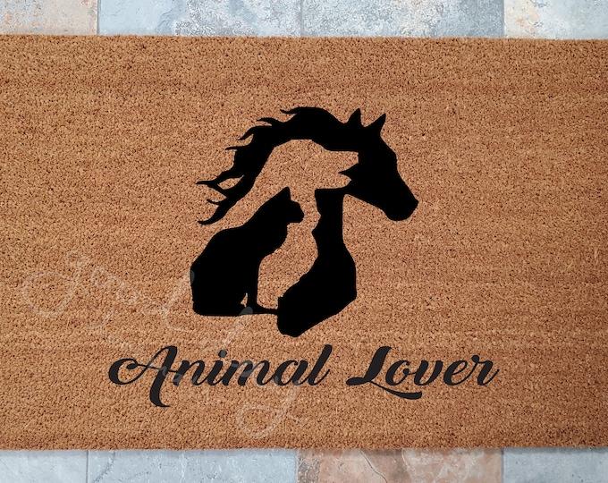 Animal Lover Welcome Mat, Horse Dog Cat Doormat, Animal Welcome Mat, Dog Lovers Doormat, Horse Lovers Doormat, Animal Lovers Doormat