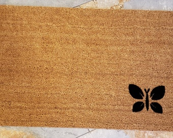Butterfly Door Mat / Happy Door Mat / Butterfly Decor / Custom Door Mats / Gifts For Her / Gifts for Mom / Unique Gifts / Butterfly / Insect