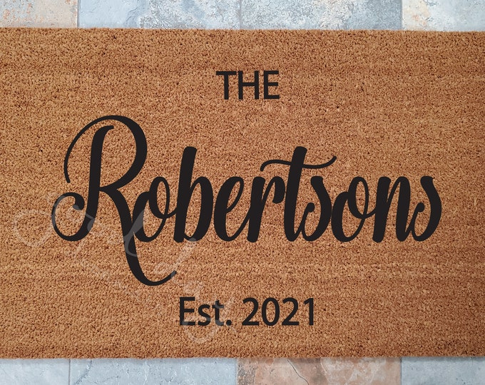 Robertson Doormat let's you Personalize with your family Name / Custom Doormat / Last Name Gift / Welcome Mat / Personalized Wedding Gift