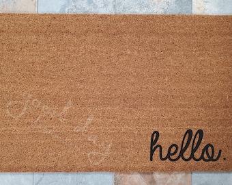 Hello Doormat, Hello Welcome Mat, Custom Doormat, Hello Mat, Welcome Mat, Doormat, Greetings Doormat, Doormats, Housewarming Gift, Fun Gifts