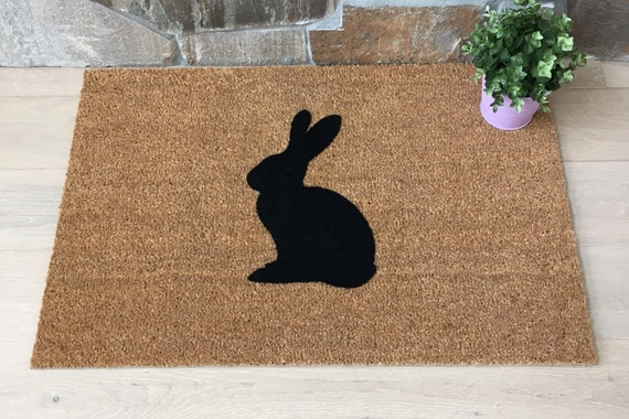 Door Mats / Welcome Mat / Custom Door Mats / Home Decor / Rabbit Decor / Easter Gifts / Gifts For Her / Gifts for Mom / Unique Gifts / Bunny