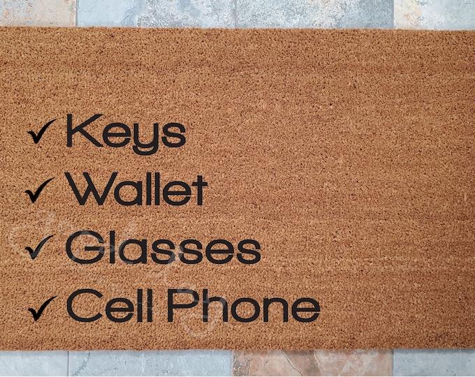 Check List Doormat / Don't Forget Your Stuff! / Welcome Mat / Custom Doormat / Personalized Doormat / Fun Home Decor / Unique Door Mats