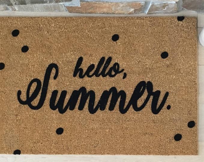 Custom Doormat, Custom Welcome Mat, Personalized Doormat, Hello Summer Doormat, Summer Door Mats, Summer Decor, Housewarming Gift Ideas