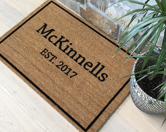 McKinnells Doormat with Border let's you put your Family Name and est. date. / Custom Doormat / Welcome Mat / Name Gifts / Housewarming Gift