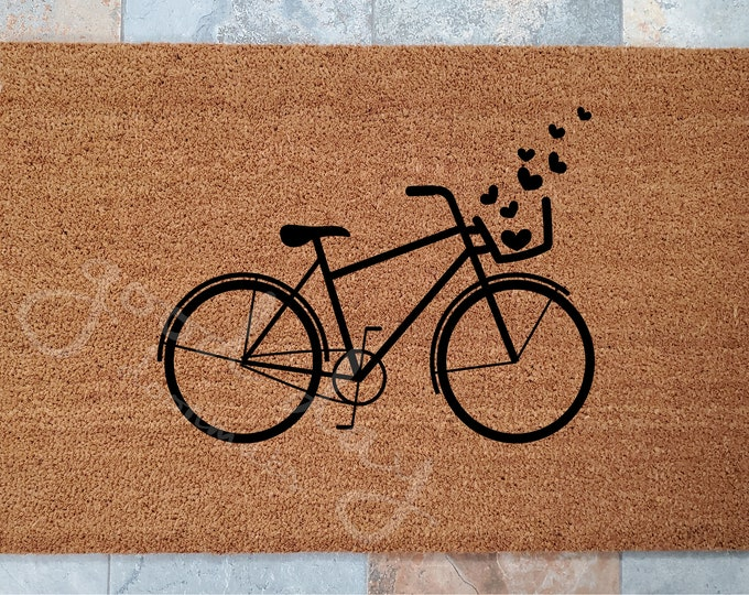 Bicycle with Hearts Doormat / Custom Doormats / Welcome Mat / Personalized Doormat / Gifts for Him / Gifts for Her / Bicycles / Unique Gifts