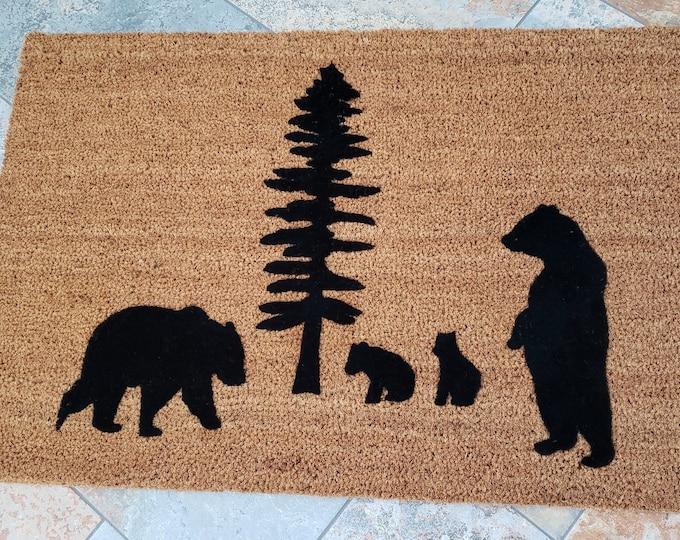 Bears Doormat / The Great Outdoors / Outdoors Doormat / Custom Doormat / Handmade Doormat / Housewarming Gifts / Family Gift / Welcome Mat