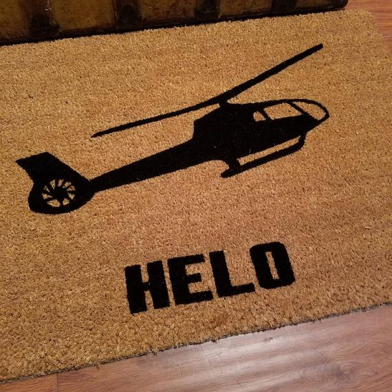 HELO Doormat / Custom Door mat / Welcome Mat / Helicopter Enthusiast / Pilot Gifts / Gift Ideas / Pilot Decor / Personalized Doormat