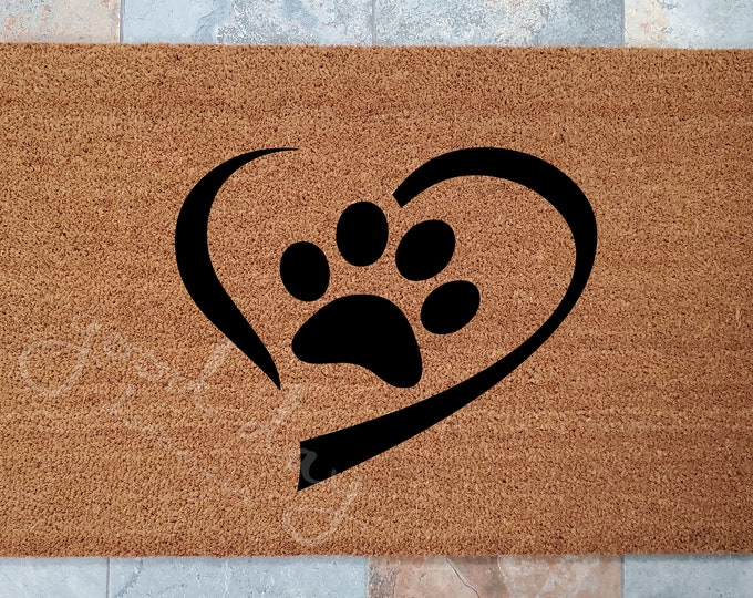 Heart and Paw Welcome Mat for the Person that Loves their Pet / Pet Lover Doormat / Custom Doormats / Gift Ideas / Family Gift / Dog and Cat