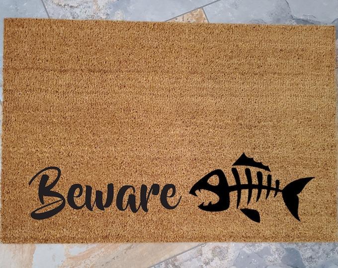 Beware Doormat / Fish-Bones Welcome Mat / Custom Doormat / Personalized Doormat / Unique Door Mats / Gifts for Him / Outdoors Doormat