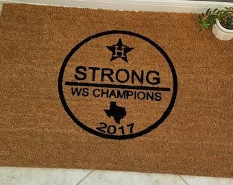 Astros WS Doormat / Welcome Mat / WS Champions / Custom Doormat / Door Mats / Family Gift / Sports Fan Gift / Astros Fans / Christmas Gift