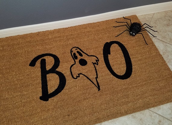 Welcome Mat / Door Mats / Custom Doormat / Halloween Door Mats / Unique Gift Ideas / Seasonal Mat / Ghost Decorations / Personalized Doormat