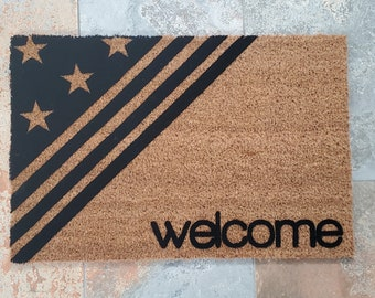 Patriotic Welcome Mat / Custom Doormat / American Flag / Welcome Mat / Personalized Doormat / Funny Doormat / Gift for Friends / Gift Ideas