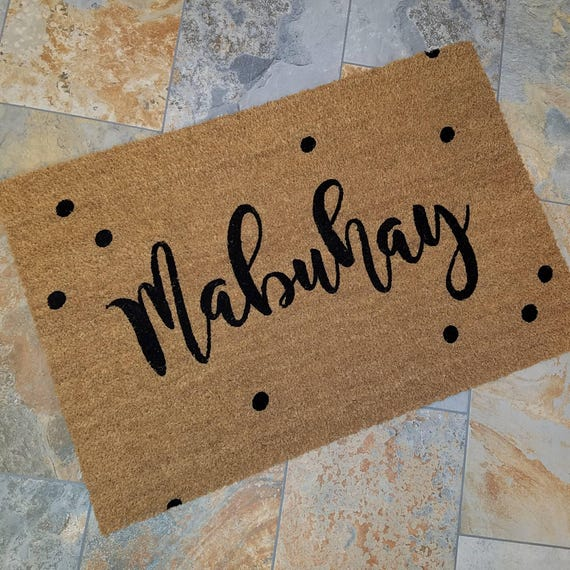 Philippine Greeting / Mabuhay Doormat / Custom Doormat / Door Mats / Wedding Gift Idea / Gift for Couple's / Family Gift / Unique Gift Ideas