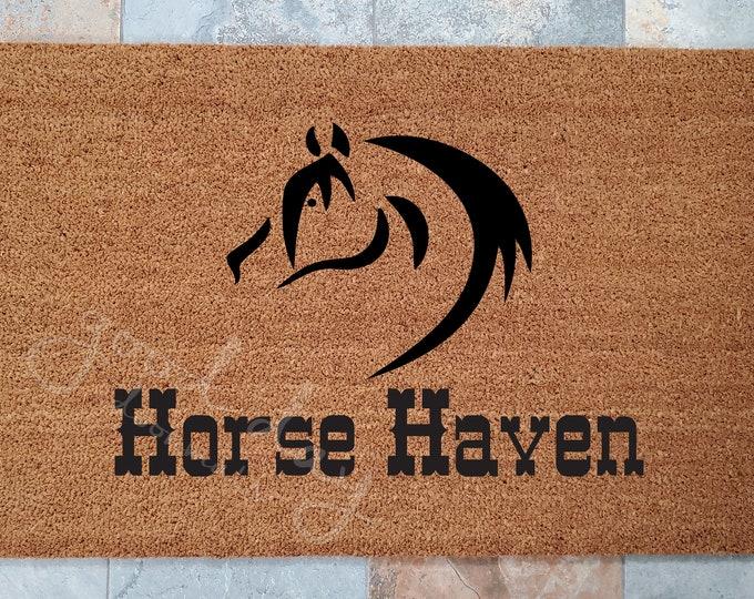 Horse  Haven Door Mat / Door Mat / Welcome Mat / Custom Doormat / Horse Doormat / Equestrian Decor / Unique Door Mat / Animal Lovers Doormat