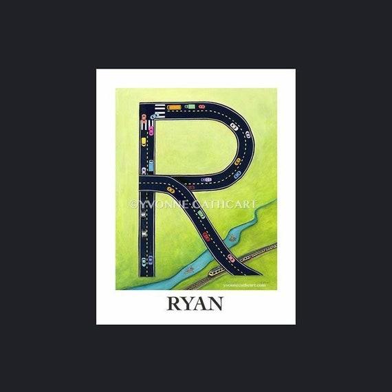 Letter Art Print.Alphabet Letter Art Monogram Art Letter R Initial Boys Wall Print Nursery Monogram Whimsical Alphabet Boys Car Art Boy Alphabet Print