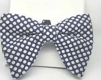 Mens Oversized Bow Tie -  Polka Dot Bow Tie, Dark Blue Bow Tie, Butterfly Bow Tie