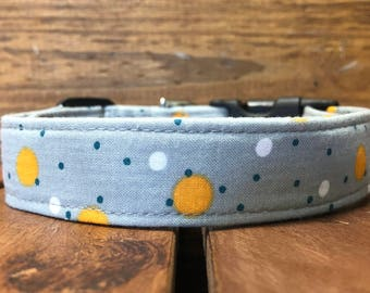 Wyatt's Collar - Gray Polka Dot Dog Collar